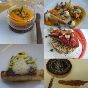 Carrot puree with lemon vinegar. Artichoke with mushroom and carrot puree. Fras Gras with strawberries and basil. poisson of snapper. Chocolate cake with ginger ice cream.